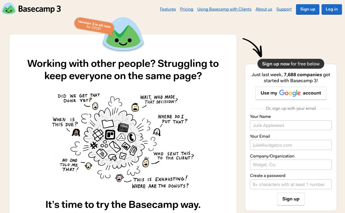 דף נחיתה Basecamp